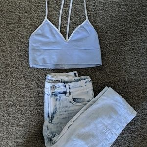 Express High Rise Jean w/ Anthropologie Bralette